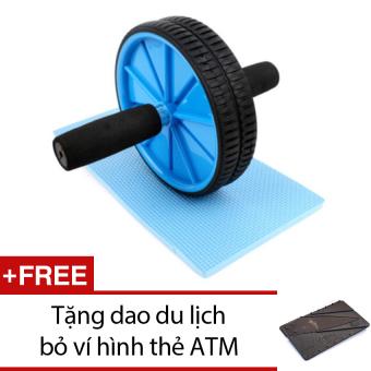 Bộ bánh xe tập thể dục + Tặng 1 dao du lịch bỏ ví hình thẻ ATM (Nâu)