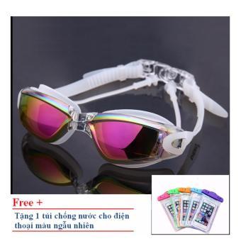 Kính bơi Shenyu tráng bạc ZOZO KB 1010 (Mắt đỏ - Gọng bạc) tặng túi chống nước cho điện thoại
