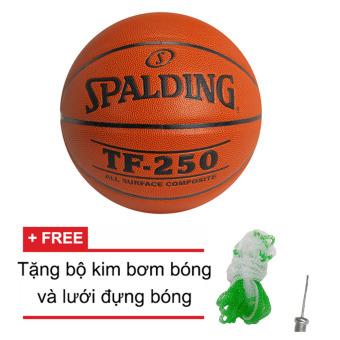 Quả bóng rổ Spalding TF250 All Surface Indoor/Outdoor Size 7 + Tặng bộ kim bơm bóng và lưới đựng bóng