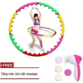 Vòng lắc eo giảm cân hoạt tính massage + Tặng máy rửa mặt 5 trong 1 Clever Mart