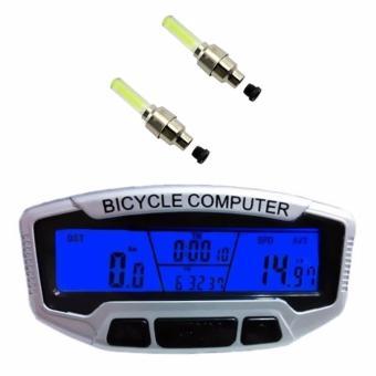 Đồng hồ tốc độ xe đạp SunDing SD-558A và 2 đèn Led gắn van xe (Vàng)