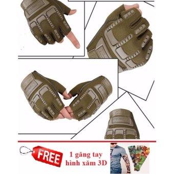 Găng tay hở ngón thể thao (Xanh rêu) + Tặng 1 đôi găng tay chống nắng hình xăm 3D