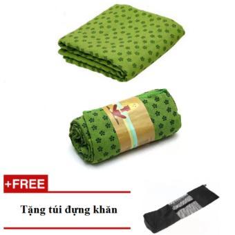 bộ 2 khăn trải thảm tập yoga hạt PVC (xanh lá)
