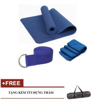 Bộ khăn, dây đai, thảm tập yoga tpe ECO (Xanh)