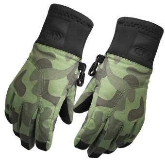 Kids Winter Touch Screen Windproof Waterproof Thermal Warm Skiing Camping Gloves Winter Glove L Camouflage - intl