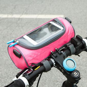 Túi treo ghi đông xe đạp, xe máy, hỗ trợ cảm ứng chống nước cao cấp H82-Hồng