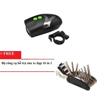 Đèn xe đạp kiêm còi bấm HQ039 (Đen phối trắng) + tặng Bộ dụng cụ hỗ trợ sửa chữa xe đạp (Đen)