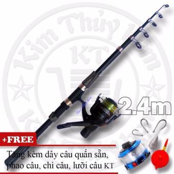 Bộ cần câu cá Carbon KT CX-B-OKM 2.4m + Tặng kèm dây, phao, chì, lưỡi câu