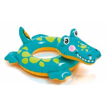 Phao tròn Intex đầu thú kích thước 71 x 56 cm dùng cho trẻ từ 3 đến 6 tuổi (Cá sấu xanh)