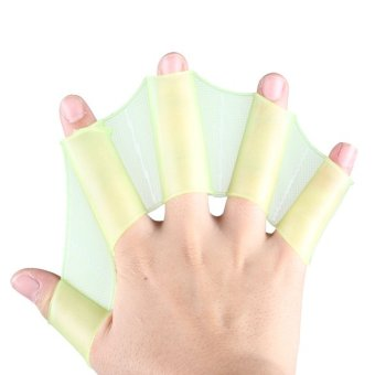 Silicone Green Swimming Fins Swim Webbed Gloves Hand Flippers Paddle Size S - intl