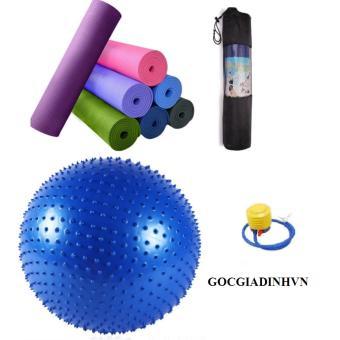 Bộ thảm yoga 6mm có túi+ Bóng tập có gai kèm bơm tay GocgiadinhVN-Xanh