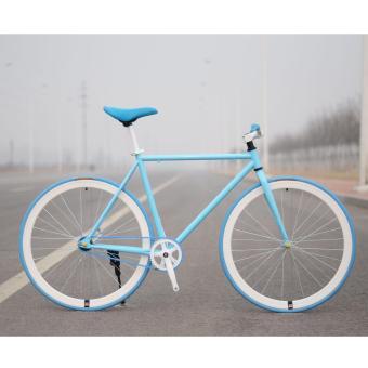 Xe đạp Fixed Gear Single Speed (Xanh trời vành trắng)