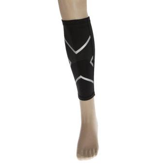BolehDeals Basketball Compression Calf Shin Support Wrap Sports Brace Sleeve L Black - intl