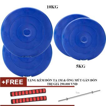 Bộ tạ miếng nhựa 5kg,10kg - mỗi loại 2 miếng (Tặng đòn 1m + Ống mút gắn đòn)