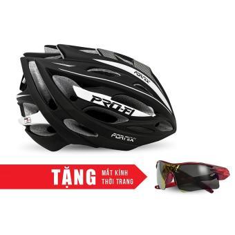 Nón bảo hộ cho người đi xe đạp FORNIX A02N050L (Đen xám) + Tặng Mắt kính thời trang