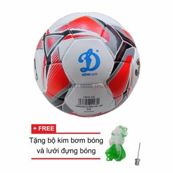 Quả bóng đá Động Lực số 4 Hoa CM6.1115 (Đỏ trắng) + Tặng kim bơm bóng và lưới đựng bóng