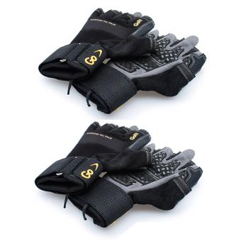 Bộ 2 Găng tay tập luyện choàng hết cổ tay Diamond-Tac size M Go Fit GF-DTACW (Đen chữ vàng)