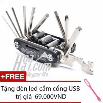 Bộ dụng cụ sửa chữa đa năng 13 món HOAHAI.COM (đen) + Tặng đèn led cắm cổng USB cao cấp