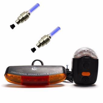 Bộ còi và đèn tín hiệu xe đạp XC-408 và 2 đèn Led gắn van xe (xanh)