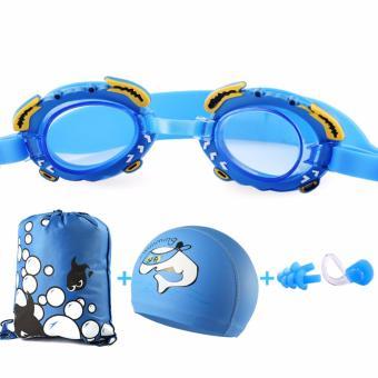 Kính bơi cao cấp cho trẻ em+ tặng kèm 1 kẹp mũi+ 2 bịt tai+ 1 túi dây rút tiện dụng (màu xanh dương)