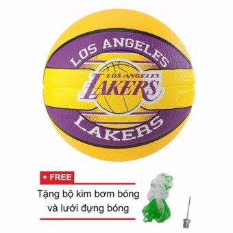 Quả bóng rổ Spalding NBA Team - Lakers Outdoor size7 (New) + Tặng bộ kim bơm bóng và lưới đựng bóng