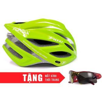 Nón bảo hộ cho người đi xe đạp FORNIX A02NX1 (Xanh lá trắng) + Tặng Mắt kính thời trang