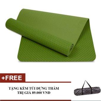 Thảm tập yoga TPE 8mm cao cấp kèm túi (Xanh lá)