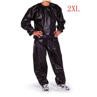 Fitness Loss Weight Sweat Suit Sauna Suit Exercise Gym Size 3XL Black (Intl)