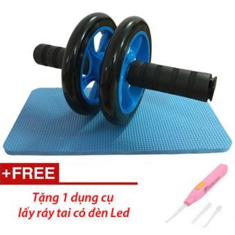 Bánh xe tập cơ bụng AB Wheel kèm thảm tập (Xanh Lam)+ Tặng dụng cụ lấy ráy tai