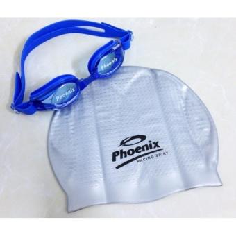 COMBO Kính Bơi Xanh + Mũ Bơi Phoenix T.MART
