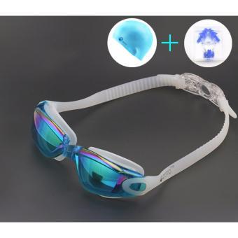 Kính bơi tặng kèm mũ bơi, kẹp mũi, bịt tai (màu xanh dương)