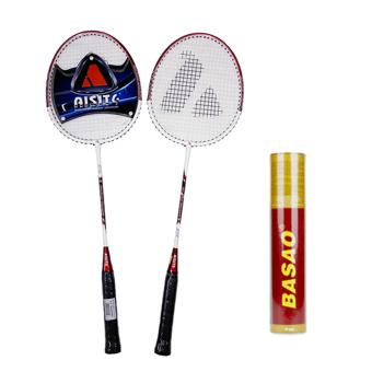 Bộ vợt cầu lông Trung Quốc Asite 318 + Cầu lông Ba Sao tập luyện (10 quả)
