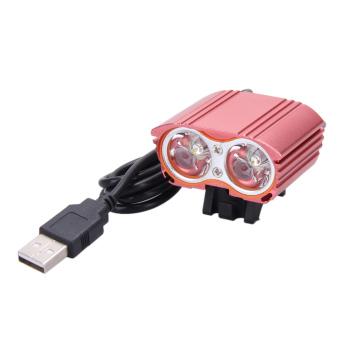 8000LM USB 2XCREE XM-L T6 LED Head Lamp Light Bicycle Headlight (Red) - intl