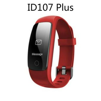 Smart Bracelet ID107 Plus Heart Rate Monitor GPS Tracker Smartband Sport Fitness Tracker For Android IOS (Red) - intl