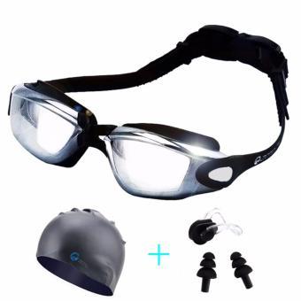 Kính bơi tặng kèm mũ bơi, kẹp mũi, bịt tai (màu đen)