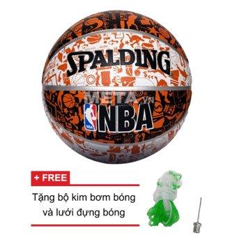 Quả bóng rổ Spalding NBA Graffiti Outdoor Size 7 + Tặng bộ kim bơm bóng và lưới đựng bóng