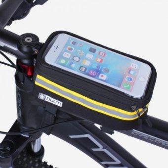 Túi bao sườn xe đạp 2 ngăn hỗ trợ cảm ứng cho điện thoại DUUTI loại 1 H77-Đen vàng