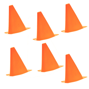 Six Pcs Multi-function Safety Agility Cone for Football Soccer Sports Field Practice Drill Marking Orange - Intl