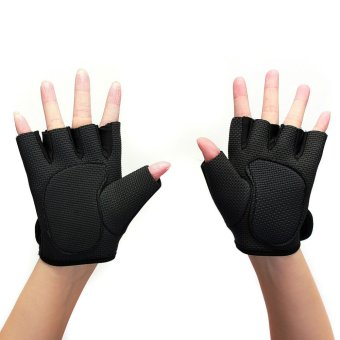 2X Weight Lifting Leather Padded Gloves Fitness Traning Body Buliding Gym Sports Black S