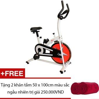 Xe đạp thể thao Buheung Korea MK-219 (Trắng phối đỏ) + Tặng 2 khăn tắm 50 x 100cm màu sắc ngẫu nhiên