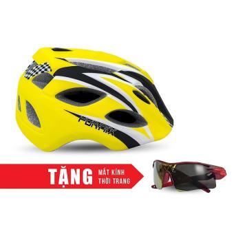 Nón bảo hộ cho người đi xe đạp FORNIX H016-M (Đen vàng) + Tặng Mắt kính thời trang