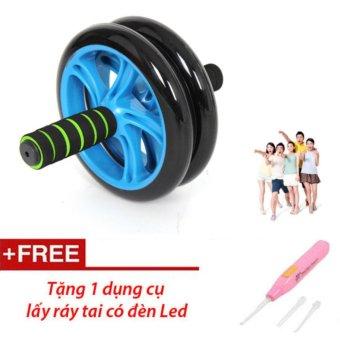 Bánh xe tập cơ bụng AB Wheel (Xanh Lam) Kèm thảm tập+ Tặng dụng cụ lấy ráy tai