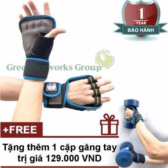 Bộ 2 găng tay tập gym thể hình cao cấp GnG (xanh) + Tặng thêm 1 cặp găng tay