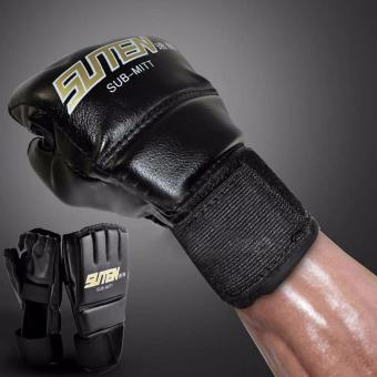 Fancyqube Gym MMA Muay Thai Training Punching Bag Half Mitts Sparring Boxing Gloves - intl