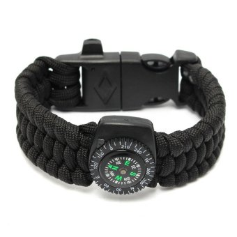 Survival Bracelet Compass Flint Fire Starter Whistle Scraper Gear Kits Black (Intl)