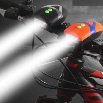 Đèn Pin LED trên xe đạp kèm đế kẹp White L.E.D Horn Flash H101