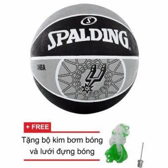 Bóng rổ Spalding NBA TEAM SPURS OUTDOOR SIZE 7 + Tặng bộ kim bơm bóng và lưới đựng bóng
