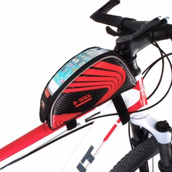 Universal Bicycle MTB Bike Cycling Frame Pannier Front Top Tube Bag Phone Holder Red - intl
