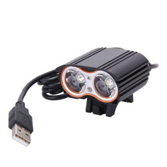 8000LM USB 2XCREE XM-L T6 LED Head Lamp Light Bicycle Headlight (Black) - intl