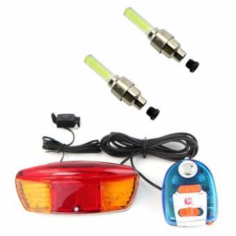 Bộ còi và đèn tín hiệu xe đạp XC-604 và 2 đèn Led gắn van xe (vàng)